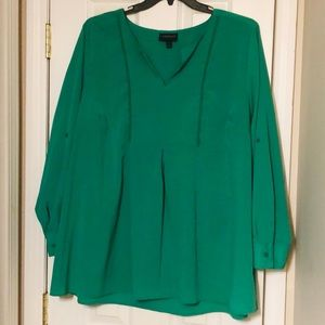 Lane Bryant Emerald Top with roll cuff